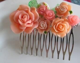 Peach Hair Comb, Floral Hair Comb