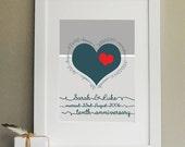 Personalised 10th Wedding Anniversary Print Unframed 10th Anniversary Gift Tenth Anniversary Gift