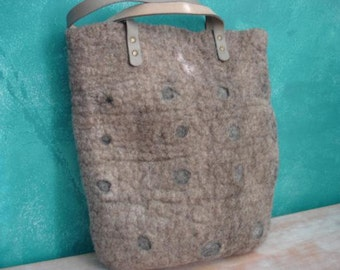 Wet felted tote bag oatmeal grey dots