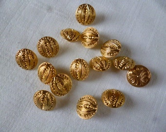 Vintage Buttons. 14 Gilded Metal Shank Buttons. 1960s Buttons.