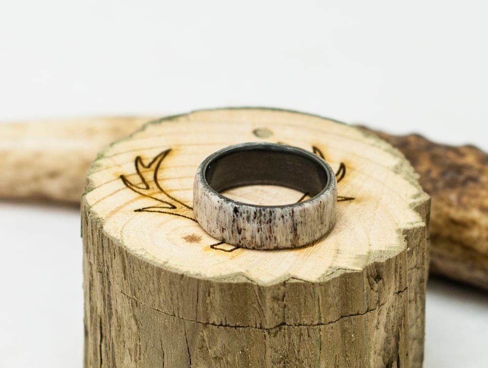Mens Wedding Band Elk Antler Ring W Black Zirconium Lining
