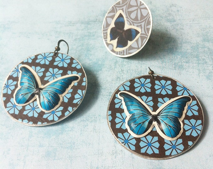 Butterfly jewelry set - paper jewelry - butterfly adjustable ring - butterfly earrings - dangle & drop -clip on earrings -discount jewelry -