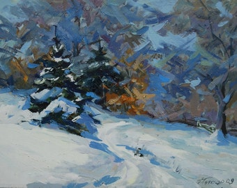 Modern painting, Impressionist landscape painting, Oil artwork canvas painting, Winter forest blue oil art, white painting