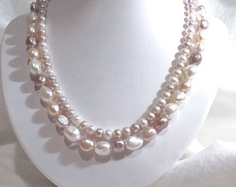 Pearl Double Strand Necklace, Pearl Necklace,  Free Form Pearl Necklace, Wedding Necklace, Classic Pearl Necklace