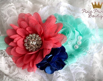 Sea Song - Headband, Baby Headband, Photography Prop, Couture Headband, Hair Clip, Summer Headband, Coral, Aqua, Shabby Chic Headband