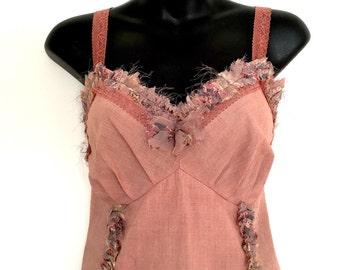 Tatterpunk Dusty Pink Woodland Brown Festival Lace Slip Cotton Dress Hand Tie Dye ~ Large AU 12 - 14 US 10 - 12  ~  Gothic Faerie Fairy