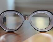 Vintage Frame France Oversized Silver and Black Round Eyeglasses NOS Avant-Garde