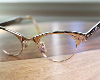 Vintage Silver Gold Cat Eyeglasses 44/22 Discount Priced Gold Filled Artcraft