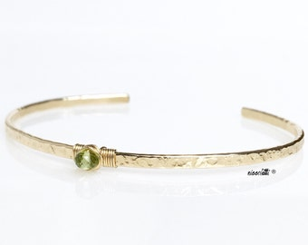 Genuine Peridot Skinny Cuff Bracelet / August Birthstone / 14k Gold Peridot Bracelet / Sterling Silver Cuff / August Birthday Gift for Her