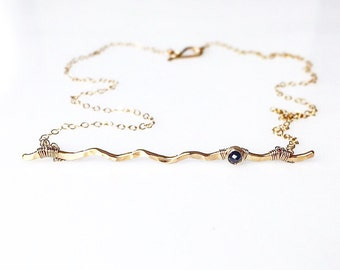 Genuine Diamond Bar Necklace / 14k Gold Bar / April Birthstone / Black Diamond Necklace / Gift for Her / Diamond Solitaire / Mom Jewelry