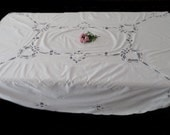 Oval Battenberg Lace Tablecloth With Heart Inserts