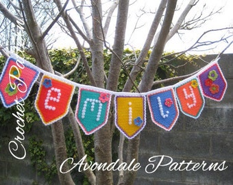 Crochet Pattern Alphabet Bunting Garland INSTANT DOWNLOAD PDF, uk and us versions No32 personalised, name, diy, design your own, any name