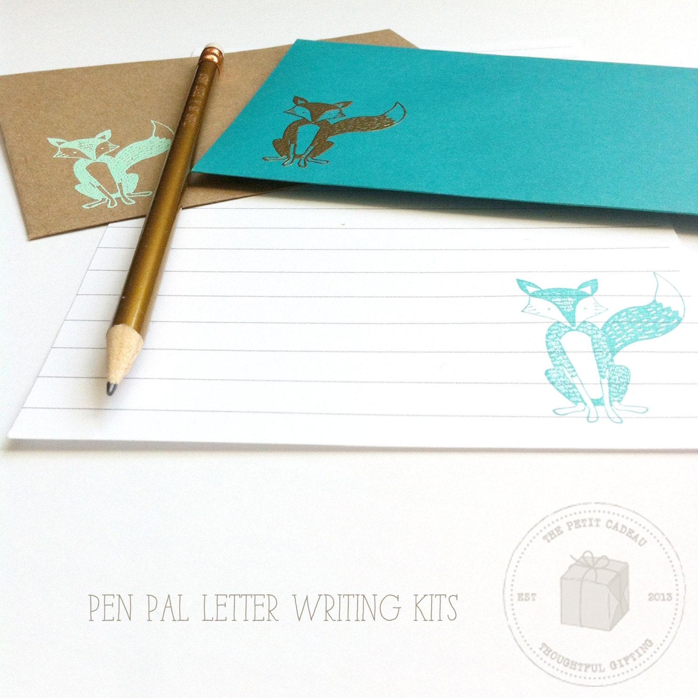Pen Pal Letter Writing Set Kids Pen Pal Kit Fox Stationery