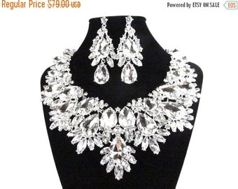 SALE SALE Bridal Statement Necklace, Bridal Crystal Necklace, Crystal Wedding Necklace, Crystal Evening Necklace E - 161