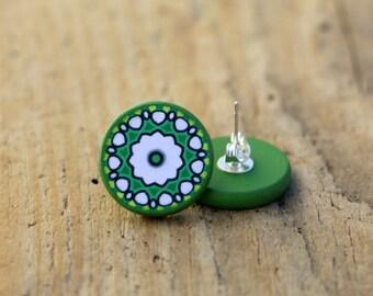 Mandala Post Earrings, Green Studs, Large Posts, Trending Mandala, Silver Plated Ear Posts, Decoupage Jewelry, Bohemian Earrings, Boho Studs