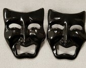 "Pair Vintage ""Jet Black Tragedy Face"" Comedy & Tragedy 1.5"" Pierced Earrings   S47"