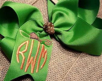 Monogrammed pumpkin hair bow-Fall hair bow-large hair bow-custom hair bow-halloween hair bow-monogrammed bow-