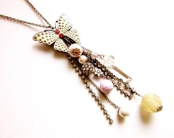 Extra Long Tassel Necklace Enamel Rhinestone Butterfly Pendant Ajusts to Brooch 34 Inch