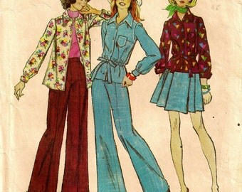 "A Long Sleeve Shirt in Two Lengths, Wide Leg Pants, and Short Pleated Skirt Sewing Pattern: Junior Size 9/10, Bust 30-1/2"" • Simplicity 6101"
