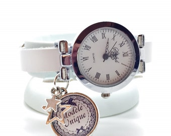 leather wrist watch with cabochon