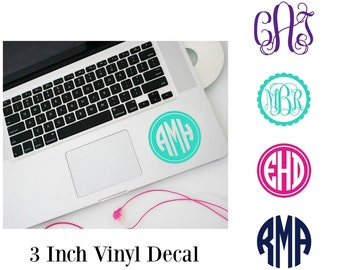 3 inch Monogram Decal, Monogram Car Decal, Laptop Stickers, Personalized Computer, 3 Inch Car Decal, Monogram, Vinyl Decal, Gift for her,