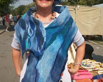 Felted scarf in blue - Nuno scarf Felted wool scarf Felted shawl - Blanket scarf Nuno felted scarf Merino wool scarf Felt cape Woolen scarf