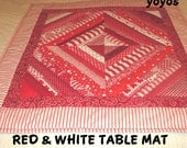 VALENTINE TABLE MAT Reds Stripped Patchwork  Home Country Cabin Cottage Décor Hostess Gift