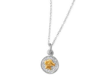 "Rhodium plated 2 tone Zodiac Necklace ""Aries"""