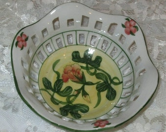 50% OFF SALE Vintage Reticulated White Porcelain Bowl with Nasturtium Pattern in Orange, Yellow and Green
