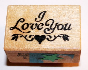 I Love You with Heart and Flowers Rubber Stamp from PSX