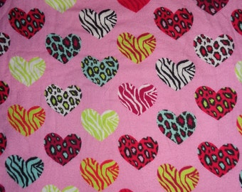 Pink Heart Fabric by the Yard