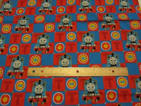 Red blue blocked thomas train cotton fabric by the yard for Train fabric by the yard