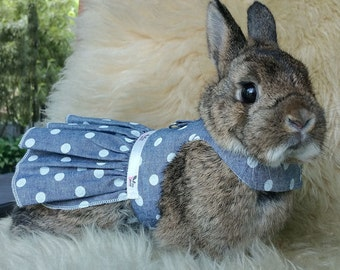 Bunny harness dress , matching leash . Made to order. Suitable for other small pets