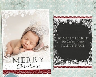 ON SALE INSTANT Download - Photoshop Christmas, Photo Card Template for Photographers vol.7
