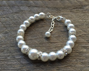 White Pearl Bracelet Crystal Bridal Bracelet Rondelle Accent Findings on Silver or Gold Chain Bridal Bracelet