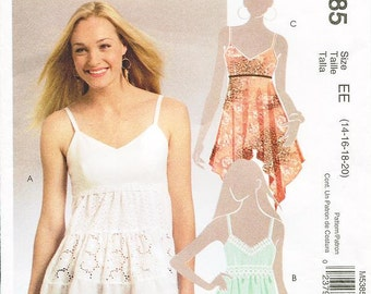 McCall's Top Pattern M5385 - Misses' Sleeveless Spaghetti Strap Top in Three Variations - Sz 14/16/18/20