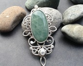 Large sterling & aquamarine pendant with big blue green stone, open lacy silver setting, magical elven jewelry, one of a kind, handcrafted