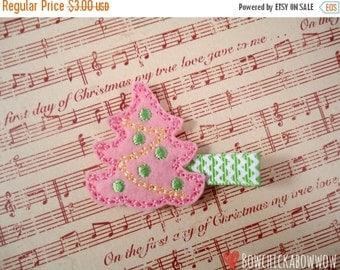 Christmas Hair Clip, PINK Christmas Tree, Christmas Felty - Pink and Green, Felt Hair Clip, Toddler Girls, Baby Girls - Stocking Stuffer
