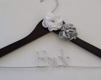 Elegant White and Silver with Pearl Flower personalized bridal Wedding hanger/ elegant wedding dress hanger