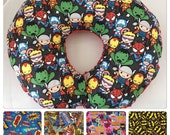 Nursing Pillow/Boppy Pillow Cover with Zipper...Kawaii Little Heros Marvel Comic Book Superhero with Minky...Shower Chic