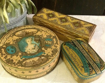 Beautiful Small Vintage Boxes, Tin and Florentine, Gold Blue Green, Vintage Vanity, Romantic Décor, Boudoir, Vintage Candy Tins, Stamp Box