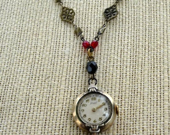 Repurposed vintage Lancet women's watch pendant gothic necklace