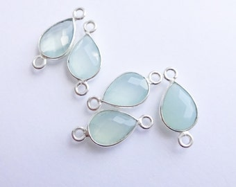 Sterling Silver Bezel Connector with Sea Green Chalcedony Stone  -- 1 Faceted Stone -- Teardrop Link