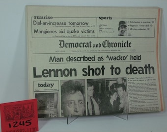 """December 8,1980 Democrat and Chronicle Newspaper Proclaims """"Lennon Shot to Death"""""""
