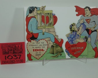 """1940's National Publications Superman Valentines Day """"Pull Out""""Cards"""
