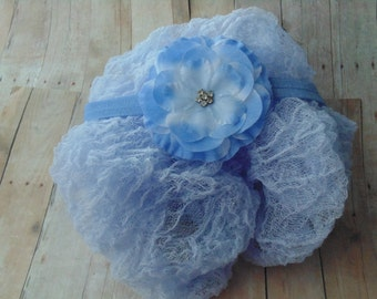 Periwinkle Cheesecloth wrap and Periwinkle Silk  Headband . ...Baby Bows...Photography Props..Newborn Photos...Girls Headbands