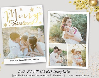 Christmas Card Template, Holiday Photo Card  Photoshop Template, 5x7in, sku xm16-2