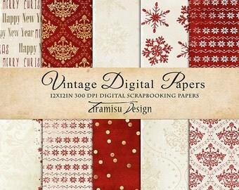 Christmas Scrapbook Papers , Digital Paper Pack 28 -Vintage Christmas