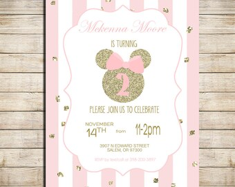 Minnie Mouse Birthday Party Invitation Pink and Gold Classy Minnie Invite Digital Printable Invitation _1215