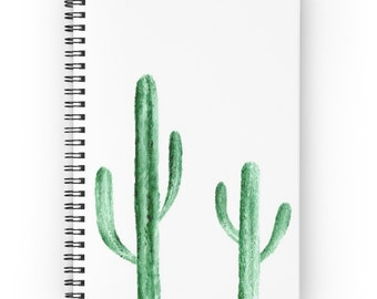 Cactus Notebook, spiral notebook, white notebook, cactus journal, travel journal, writing journal, modern journal, white journal